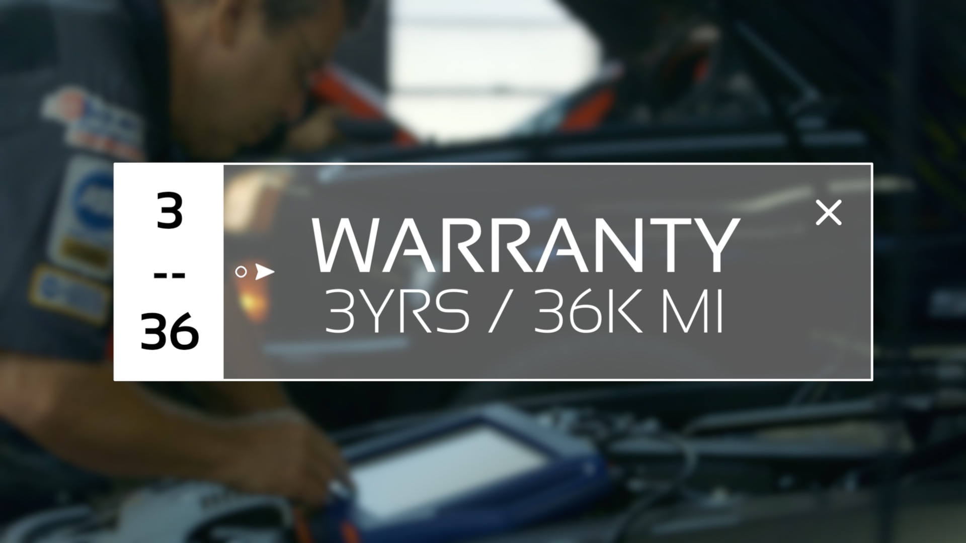 3 year 36,000 mile warranty on parts and labor
